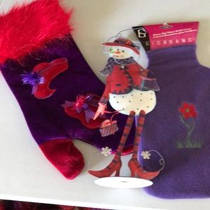 Red/Purple Red Hat Stocking, Snowlady, bottlecover